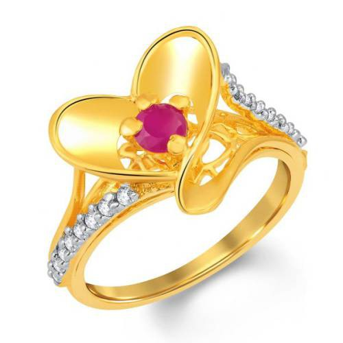 Craftsvilla Beguiling Gold And Rhodium Plated Cz And Ruby Studded Ring (8079rczc680)
