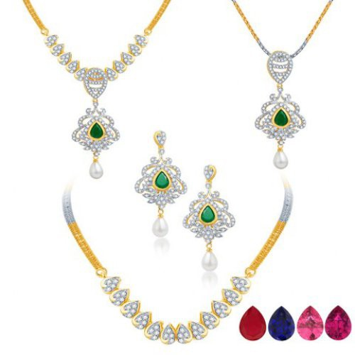 Craftsvilla Classic Detachable 4 In 1 Cz Jewellery Set With Chain And 5 Changeable Stone