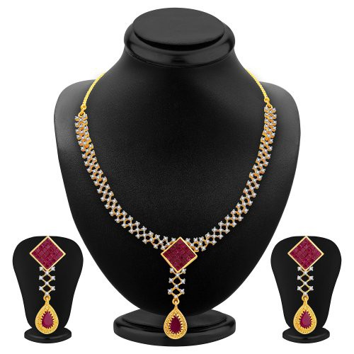 Craftsvilla Stylish Gold Plated Cz Necklace Set For Women
