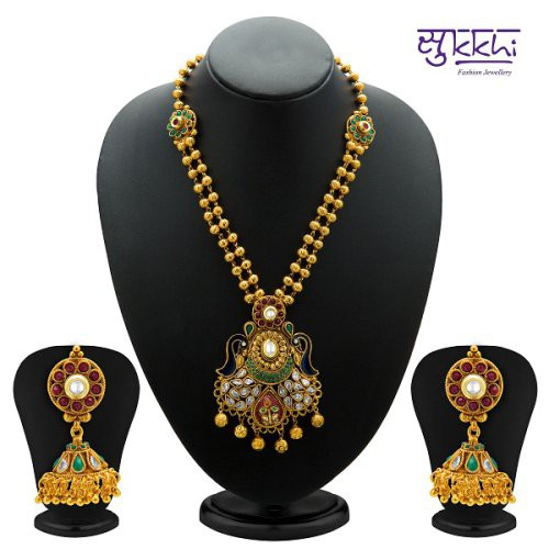 Craftsvilla Antique Gold Plated Kundan Necklace Set