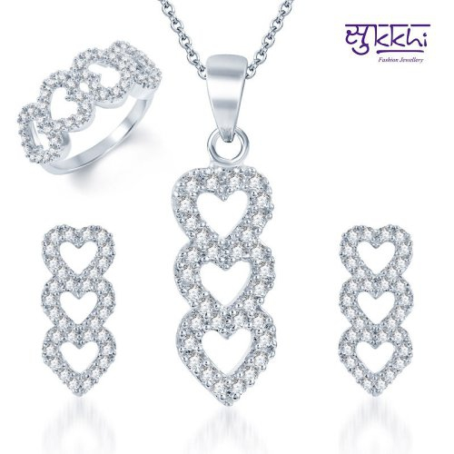 Craftsvilla Beguiling Rhodium Plated Cz Pendant Set And Ring Combo (free Chain)