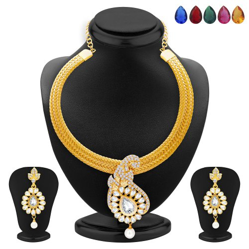 Craftsvilla Elegant Gold Plated Ad And Kundan Necklace Set With Set Of 5 Changeable Stone For Women