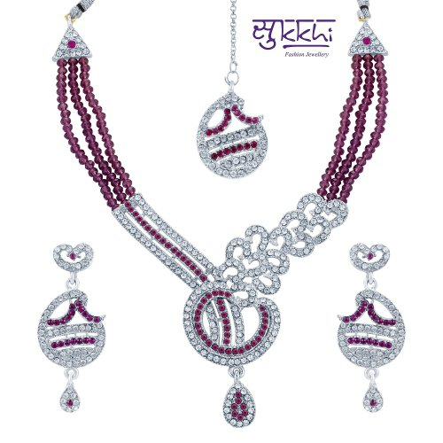 Craftsvilla Stunning Rhodium Plated Ad Stone Necklace Set