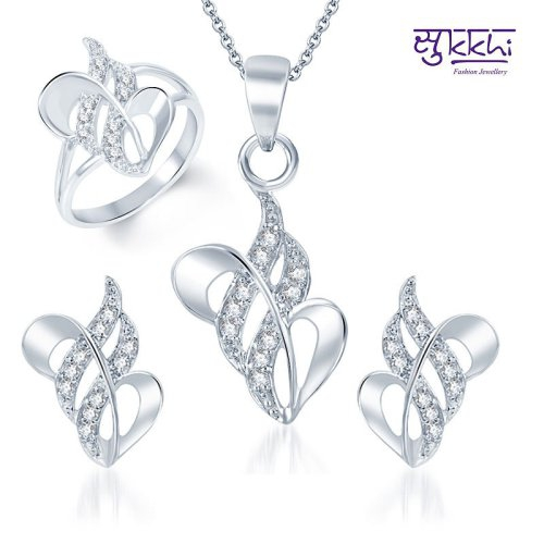 Craftsvilla Fancy Rhodium Plated Cz Pendant Set And Ring Combo (free Chain)