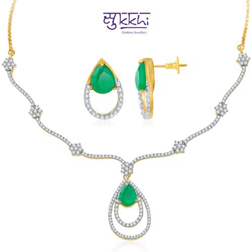 Craftsvilla Gold And Rhodium Plated Sizzling Cz Emerald Necklace Set