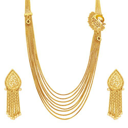 Craftsvilla Delightly Eight String Chain Peacock Gold Plated Necklace Set