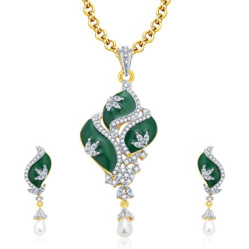 Craftsvilla Majestic Gold And Rhodium Plated Cz Pendant Set