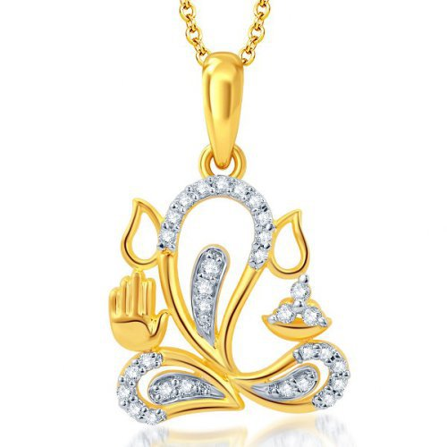 Craftsvilla Marvelous Gold And Rhodium Plated Cz Ganesha God Pendant With Chain(34020gpczr600)