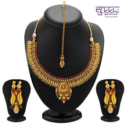 Craftsvilla Finely Gold Plated Temple Jewellery Necklace Set (2105ngldpl3500)