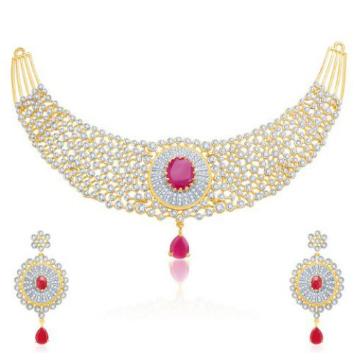 Craftsvilla Cubic Zirconia Gold-plated Necklace Set