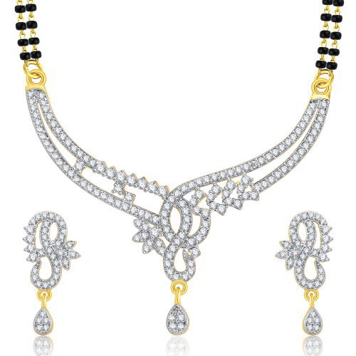 Craftsvilla Distinctive Gold And Rhodium Plated Cz Mangalasutra Set