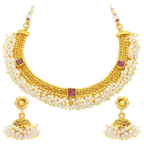 Craftsvilla Luxurious Invisible Setting Gold Plated American Diamond Necklace Set