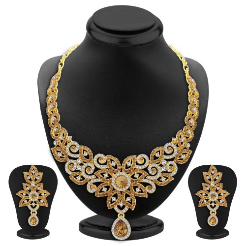 Craftsvilla Exquisite Lct Stone Gold Plated Ad Necklace Set For Women