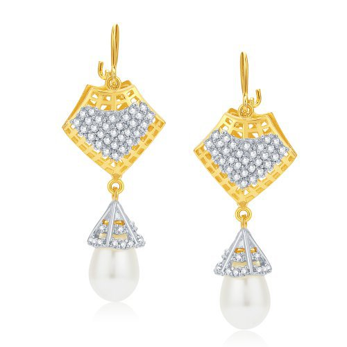 Craftsvilla Precious Gold And Rhodium Plated Cz Earrings