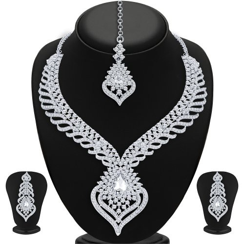 Craftsvilla Wavy Rhodium Plated Ad Necklace Set