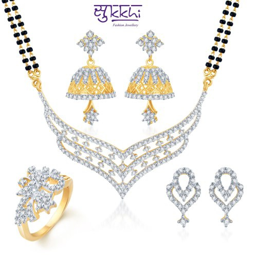 Craftsvilla Floral Elegance Gold & Rhodium Plated Cz Combo (include 18