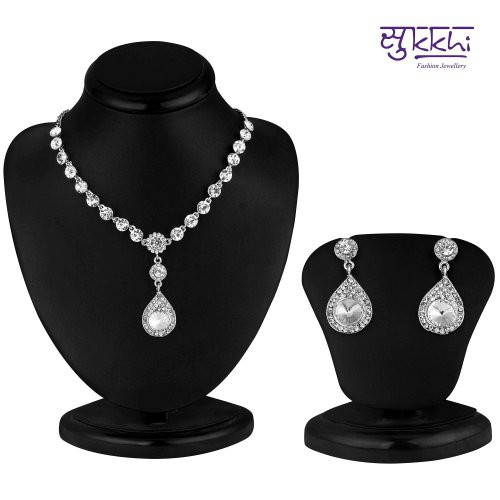 Craftsvilla Graceful Rhodium Plated Ad Stone Necklace Set