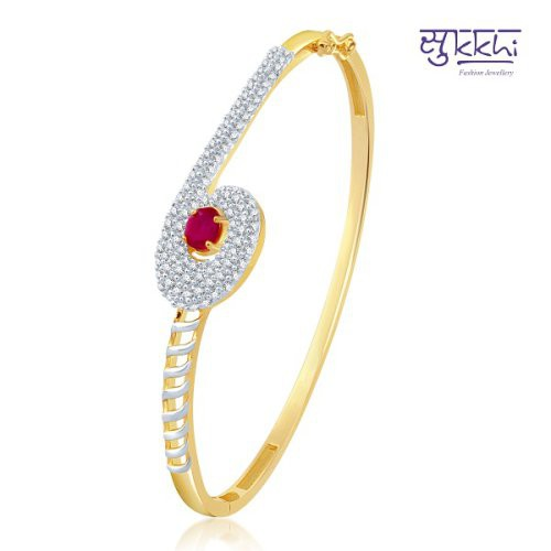 Craftsvilla Royal Gold And Rhodium Plated Cz Ruby Kada (12044kczk1900)