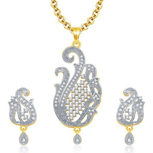 Craftsvilla Gaiety Gold And Rhodium Plated Cz Pendant Set