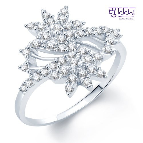 Craftsvilla Stylish Rhodium Plated Cz Ring