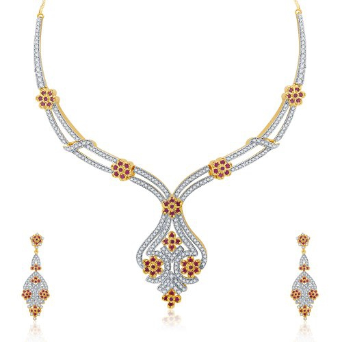 Craftsvilla Beguiling Gold And Rhodium Plated Ruby Cz Neklace Set