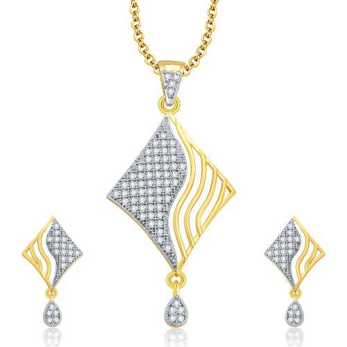 Craftsvilla Classy Gold And Rhodium Plated Cz Pendant Set