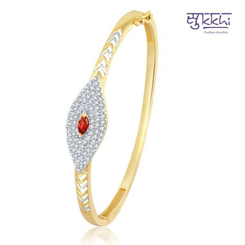 Craftsvilla Glorious Gold And Rhodium Plated Cz Ruby Kada (12045kczk1900)