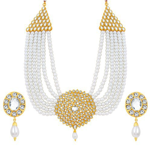 Craftsvilla Fascinating Six String Moti Queen Gold Plated Ad Necklace Set