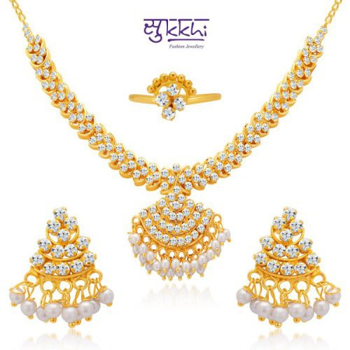 Craftsvilla Gold And White Stones Jewellery Set With Pearls