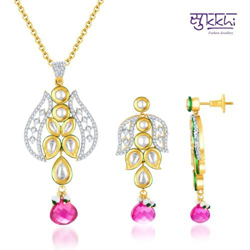 Craftsvilla Kundan-cz Gold And Rhodium Plated Exquistely Crafted Pendant Set