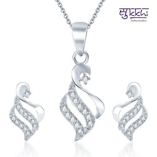 Craftsvilla Bewitching Rhodium Plated Cz Pendant Set (include Free Chain)