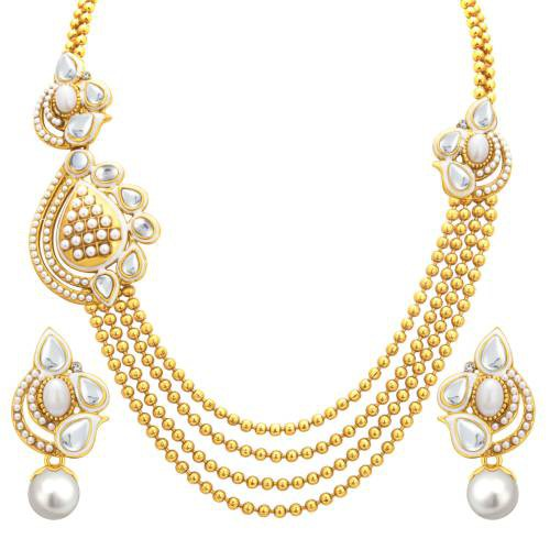 Craftsvilla Glimmery Four String Gold Plated Necklace Set