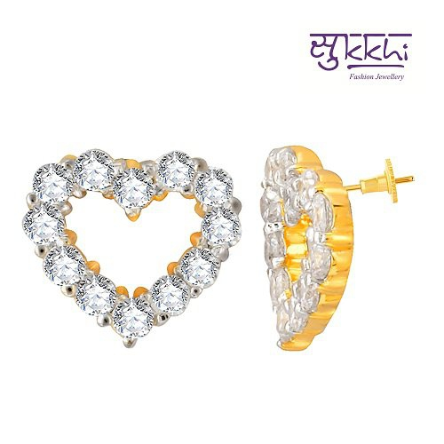 Craftsvilla Fine Design Gold And Rhodium Plated Imported Cz Earring