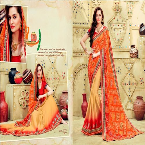8adb1476bd632e Buy Designer New Fashion Rajasthani Bandhej Unique Indian Collection Party  Wear Saree With Blouse. Online