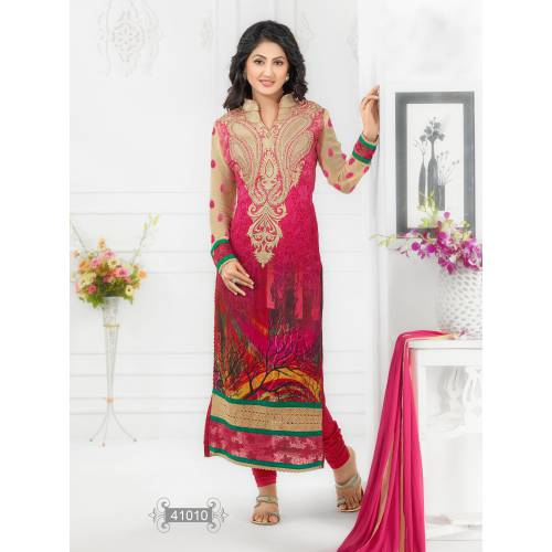 Buy Hina Khan Multicolored Embroidered Long Salwar Suit Online