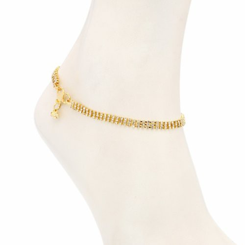 Craftsvilla Beguilling Gold Plated Australian Diamond Stone Studded Anklet(22007aadv1000) - Anklets By Craftsvilla Fashion