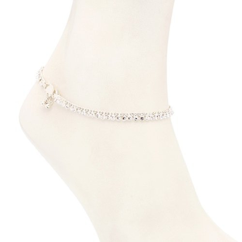 Craftsvilla Ravishing Rhodium Plated Australian Diamond Stone Studded Anklet(22006aadv650) - Anklets By Craftsvilla Fashion