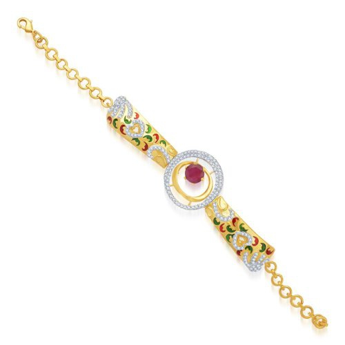 Craftsvilla Beguiling Gold And Rhodium Plated Cubic Zirconia Stone Studded Bracelet(26004bcczk2850) - Bracelets N Bangles By Craftsvilla Fashion