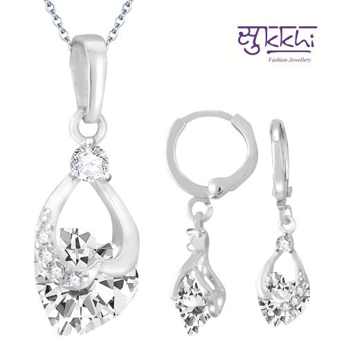 Craftsvilla Attractive Rhodium Plated Imported Cz Pendant Set  - Pendants By Craftsvilla Fashion