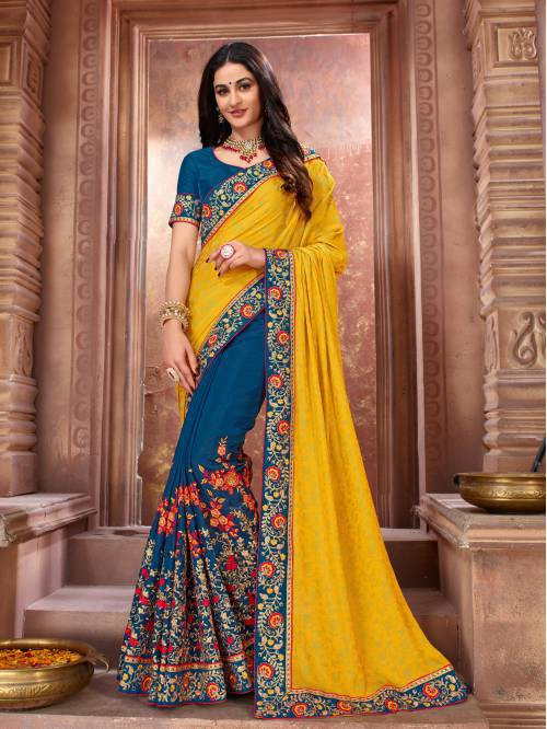 Yellow Art Silk Embroidered Designer Saree With Unstitched Blouse Piece