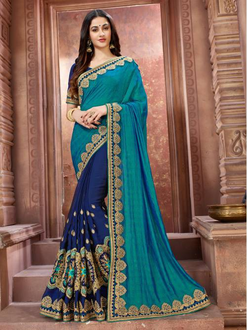Blue Art Silk Embroidered Designer Saree With Unstitched Blouse Piece