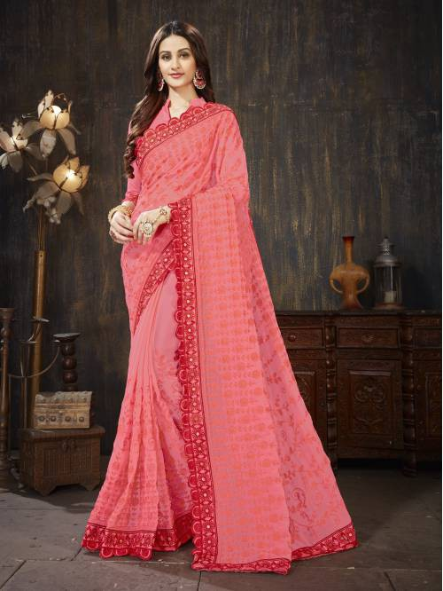 Pink Georgette Embroidered Designer Saree With Unstitched Blouse Piece