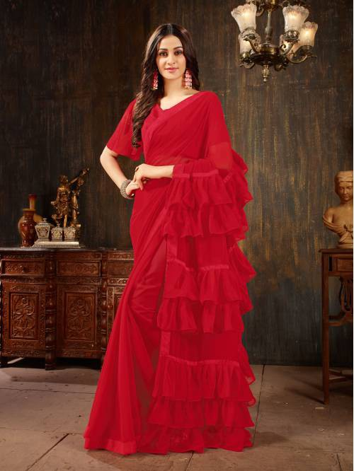 Red Georgette Plain Designer Saree With Unstitched Blouse Piece