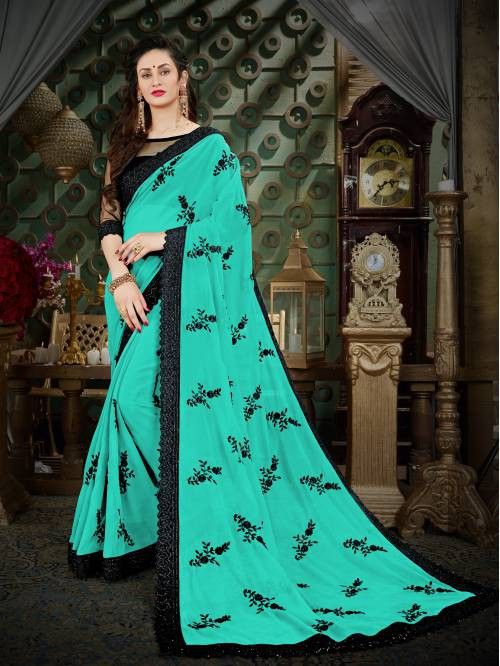 Turquoise Georgette Embroidered Designer Saree With Unstitched Blouse Piece
