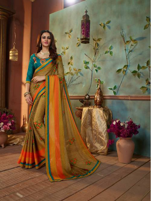 Green Georgette Printed Saree With Unstitched Blouse Piece
