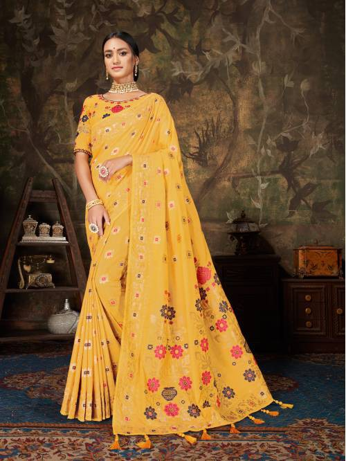 Yellow Cotton Woven Designer Saree With Unstitched Blouse Piece
