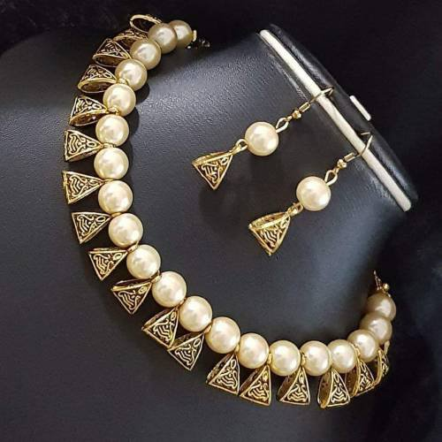 South Indian Traditional Jewellery Gold Tone Design Necklace Set Earring