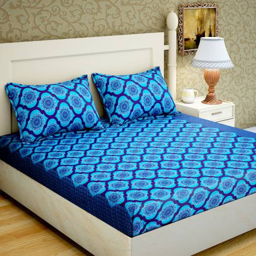 Home Elite 120 Tc Cotton Double Size Bedsheet With 2 Complementary Pillow Covers