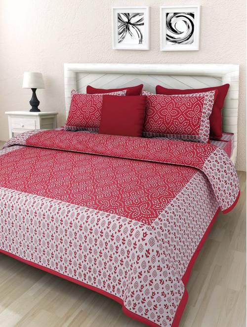 Frionkandy Red Cotton Printed Double Bed Sheet With 2 Pillow Covers- Thread Count ( Tc ) 120