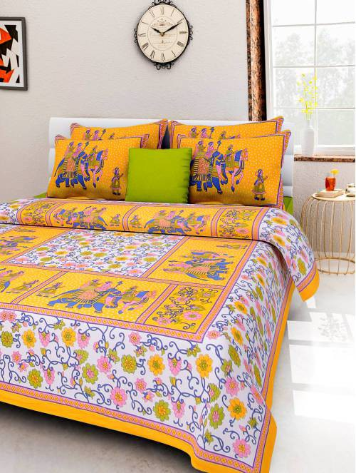 Frionkandy Yellow Cotton Printed Double Bed Sheet With 2 Pillow Covers- Thread Count ( Tc ) 120